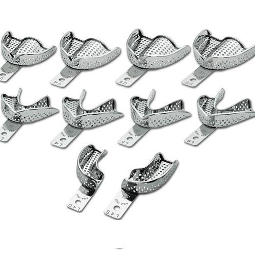 Set of 10 Perforated Stainless Steel Impression Trays with retention rim (Upper 1 5 + Lower 1 5)