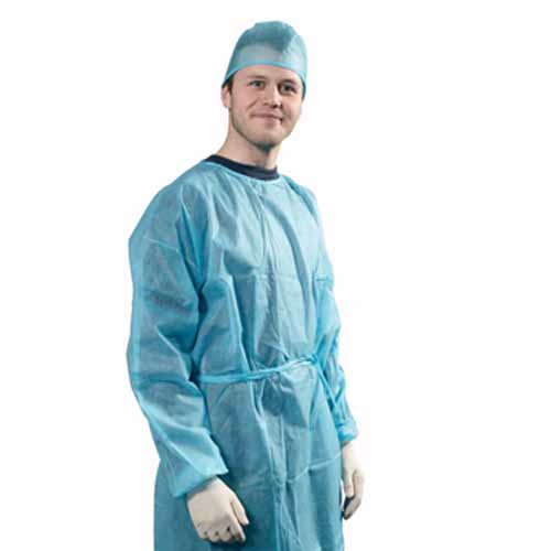 Non Woven Isolation Gown, Blue (Medium)